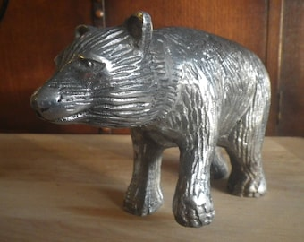 Large Sturdy Cast Metal Bear Figurine in Silver Tones Walking Pose Statue Mountain Bears Figure Collectible Art Sculpture Unsigned