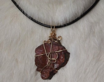 Iron Stone Wire Wrapped Necklace