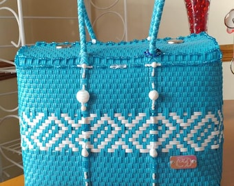 Blue and white multipurpose handmade handbag
