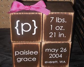 baby blocks, Display blocks, baby info blocks, personalized wood blocks, baby announcement blocks, baby shower gift, nursery decor