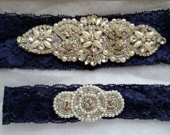 Something Blue Wedding Garter Set - Rhinestone & Pearl Garter Set on Navy Lace - Style G10030N