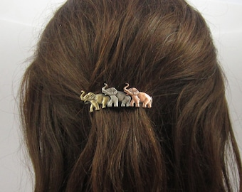 Elephant French Barrette 60mm- Hair Accessories- Small Barrette- French Clips