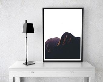 Dusk Mountain Edgy, Modern, Simple, Printable Wall Art, Photography, Digital, Decor