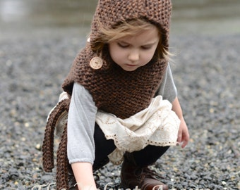 Knitting PATTERN-The Brighton Hood (12/18 months-2, 3/4, 5/7, 8/12, teen/sm. adult, adult sizes)