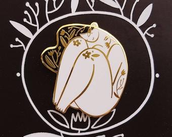 SHYSHY - WHITE - right side -enamel pin Black White gold floral hard enamel