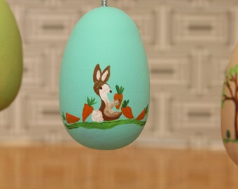 Aqua Hand Painted Wooden Easter Egg Ornament Ready to be Personalized-pick your color