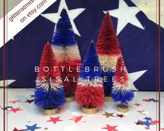 4th of July Bottlebrush Trees ( Set of 5 ) Red White & Blue