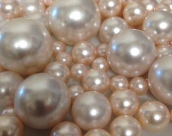 Blush Pink Pearls Decorative Jumbo Pearls (no hole pearls) - Floating Pearls Centerpieces, Table Decors, Scatters