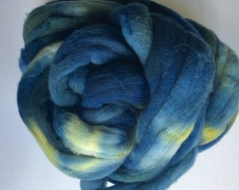 Hand dyed Rambouillet wool top, handdyed roving, handprinted wool fiber for spinning, 4 oz
