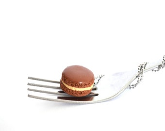 Caramel Macaron Necklace || Macaron Charm || Miniature Food Jewelry