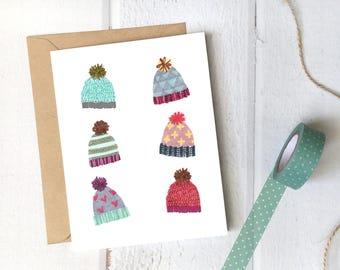 christmas card | illustration of cute knitted hats | holidays greeting card | housewarming wall art decor | knitting lovers | knitting art