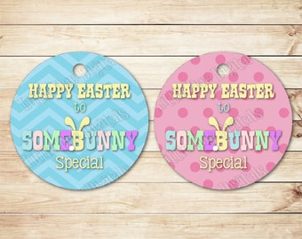 """INSTANT DOWNLOAD - Happy Easter To SomeBunny Special Easter Gift Tags 2.5""""x2.5"""" - Party Favor Easter Treat Tag - Tag Printable Gift Bag Tags"""