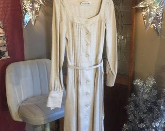 Albert Nipon Beige Pleated Linen Button Up Dress