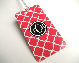 Luggage Tag PAIR - Red and Black Quatrefoil Luggage Tag - Monogram Luggage Tag - Quatrefoil  Travel Tag