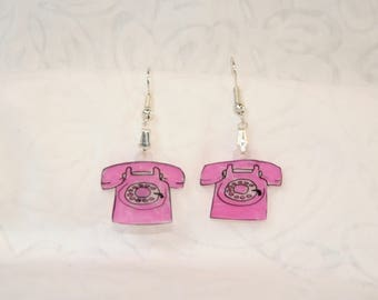 "princess phone earrings, 100% recycled, ""shrinky dink"""