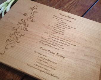 GRANDMOTHERS  HANDWRITTEN RECIPE Cutting Board Personalized Custom Recipe Cutting Board
