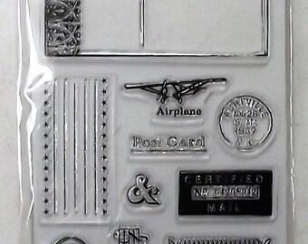 "FISKARS 103810-1001 Clear Stamps 4"" x 8"" Sheet - CERTIFIED MAIL - 12pcs"