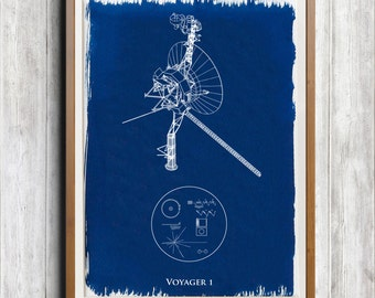 Voyager 1 Space Probe A4 Hand coated traditionally made cyanotype blueprint