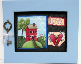 Folk Art Red House, Love, Red Heart, Old Key, Framed in Reclaimed Pine Wood, Green Tree, Colorful Flowers, Hand or Tole Painted, Home Sign