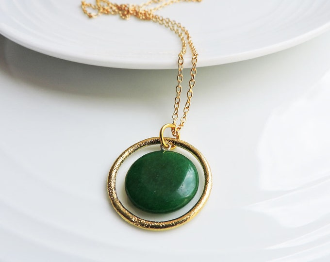 Featured listing image: Deep Green Jade & Gold Orbit Pendant Necklace - Emerald Green Round Coin Pendant with Textured Gold Ring