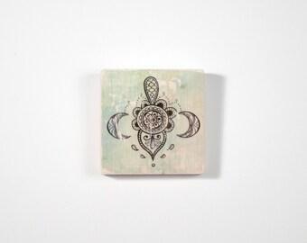 Mandala Art Block, Art Blocks, Boho Art, Wood Printing, Wood Block Art, Bohemian Art, Small Art