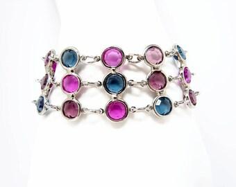 Multi Color Bezel Set Crystal Bracelet, 7 Inch, Blue Fushia Purple Crystal, Silver Tone Multi Strand Bracelet, Vintage Jewelry