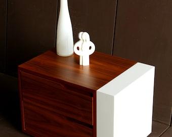 Modern Bedside Table/ Nightstand/ Custom Made/ Walnut Wood