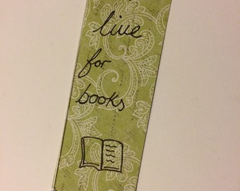 Handmade bookmark with tassel 17 x 6 cm - live for books - don't lose your page - reading