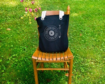 Rejoice in the Lord retro record player canvas school bag black, shoulder canvas bag, tote everyday bag, farmers market bag, big bag tote