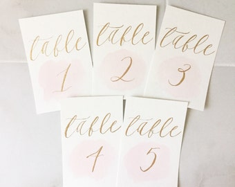 watercolor calligraphy table numbers