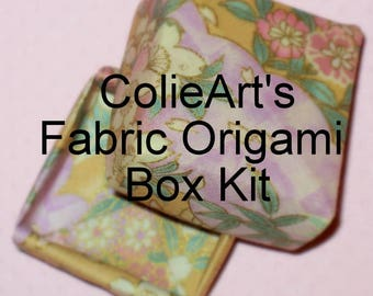 Small Fabric Origami Box Kit in Purple, Pink, and Gold  Cherry Blossom Print - Fabric Origami Tutorial