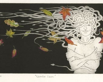Original Etching: 'November Leaves' - Medusa and coloured leaves in the autumn winds