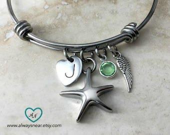 Cremation urn bracelet, cremation jewelry, cremation bracelet, cremation charm bracelet, starfish cremation Memorial bracelet ashes bracelet