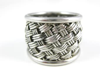 Size 5 3/4 Vintage Sterling Silver Basket Weave Ring