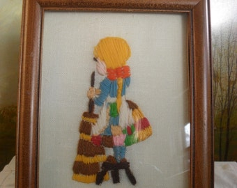 Vintage Crewel-Work Picture of Little Girl Churning Butter-Framed and under glass