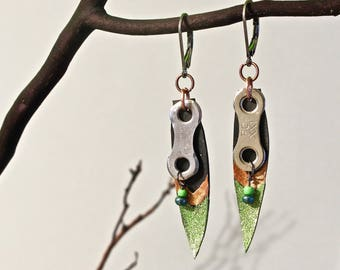 Recycled bicycle chain and inner-tube earrings