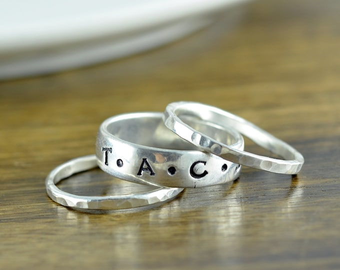 Stackable Ring - Custom Name Ring - Sterling Silver Personalized Hand Stamped Mothers Ring - Gift for Mom - Name Ring - Mothers Jewelry