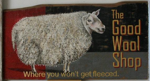 The Good Wool Shop original acrylic painting on repuropsed wood