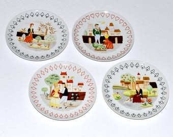 Vintage Porcelain Plates with Playing Cards Motif , Spades, Hearts, Diamonds, Clubs, Set of 4