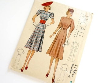 Shop SALE Rare Vintage 1930s Womens Size 16 Fit Flare Dress McCall Sewing Pattern 3136 UNCUT Complete / b34 w28 / Shoulder Buttons, Obi Belt