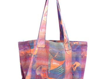 Fabric Grocery Bag Carry All Tote Bag Heavy Upholstery Watercolor Abstract