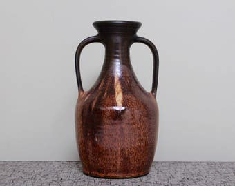 Peter Aindow of Kendal Studio Pottery: Vintage Ceramic Amphora Style Floor Vase with Brown Dripping Glaze