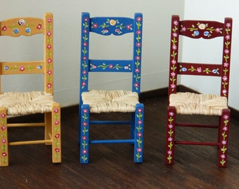 12th Scale Hand Made And Painted Portuguese Typical Furniture The Chair & Hand Painted Mexican Chairs | Expert Event