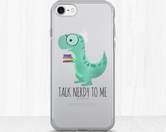 Talk Nerdy To Me - Clear iPhone Case - Funny Nerd Dinosaur Pun Book Lover Gift Love To Read Books Dino Glasses Bookish Dinos Nerds Reading