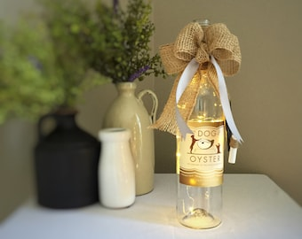 Wine Lover Decor/Wine Bottle Light/Cordless/Battery Operated/The Dog and Oyster/Virginia Wine/Silver and Gold/Rescue Dog/Dog Owner Gift