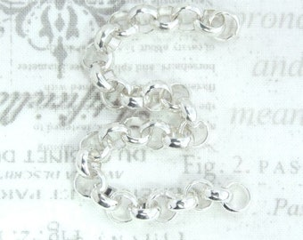5 1/2 Inch Rolo Chain Silver Plated Chain Heavy Weight Chain Bracelet Chain Thick Chain Heavy Rolo Chain
