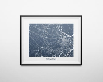Savannah, Georgia Abstract Street Map Print