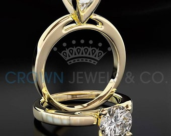 Diamond Engagement Ring Solitaire H VVS1 Round Brilliant Cut Diamond 18K Yellow Gold Ring For Women