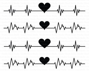 Heartbeat SVG, Cardio Heart SVG files for Silhouette Cameo and Cricut. Cardiogram heart beat cutting files. Heart beat clipart PNG included.