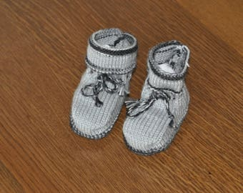 light grey and black baby booties